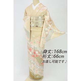 《長尺■豪華道長取りに桜の花模様訪問着■ベージュ◆袷正絹着物◆HY9-18》(着物)