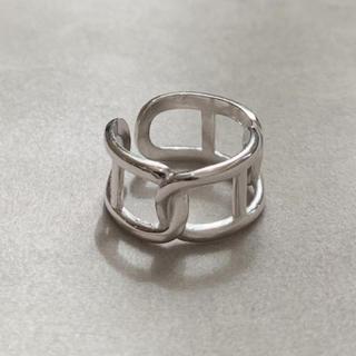 シルバー925 Hデザインチェーンリング シルバー silver925(リング(指輪))