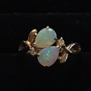 キュート♡K18 オパール ダイヤモンド リング 11号 Ni57(リング(指輪))