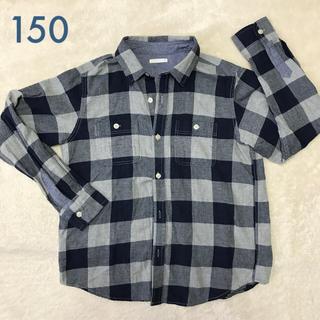 GU - GU ネルチェックシャツ長袖150 グレー