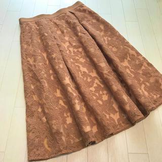 ストロベリーフィールズ(STRAWBERRY-FIELDS)の美品 ストロベリーフィールズ 刺繍デザイン フレアスカート(ひざ丈スカート)