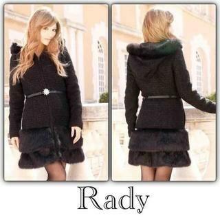 レディー(Rady)のラメ ファー フード ウールコート ブラック(毛皮/ファーコート)
