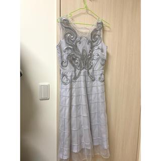 グレースコンチネンタル(GRACE CONTINENTAL)の美品 グレースコンチネンタル  ワンピ ドレス ブルー 刺繍 レース 結婚式(ミニワンピース)
