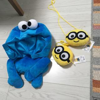 ミニオン(ミニオン)のミニオンズ新品ネックパスケース2個クッキーモンスター帽子ファンキャップ被り物(キャラクターグッズ)