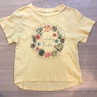 GU - GU フラワープリント半袖Tシャツ イエロー サイズ140