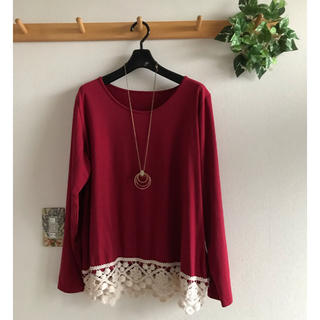 裾レース 長袖Tシャツ 3L  あか(Tシャツ(長袖/七分))