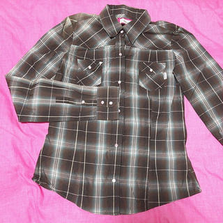ブラウン チェックシャツ きれい目シルエット 美品 日本製(シャツ/ブラウス(長袖/七分))