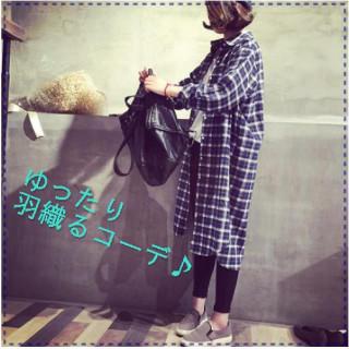 羽織るコーデ 青 チェック 長袖シャツ (シャツ/ブラウス(長袖/七分))