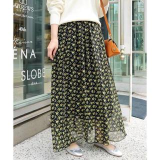 IENA SLOBE - SLOBE IENA☆フラワープリントギャザースカート