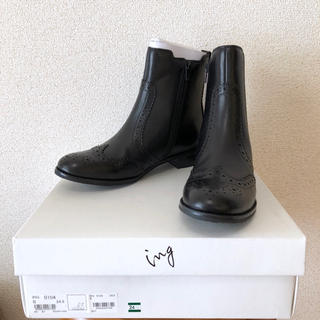 ing - 未使用 ing サイドゴア ウイングチップ ショートブーツ ブラック