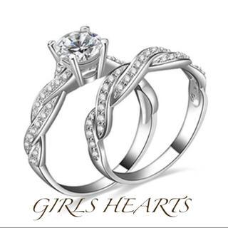 送料無料9号2個セット重ね付けクロムシルバースーパーCZダイヤモンドリング指輪(リング(指輪))