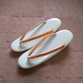 草履 和装 白 ホワイト オレンジ 23cm(下駄/草履)