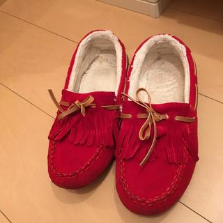 モカシン 靴 赤色 レッド サイズ 39 25センチ(スリッポン/モカシン)