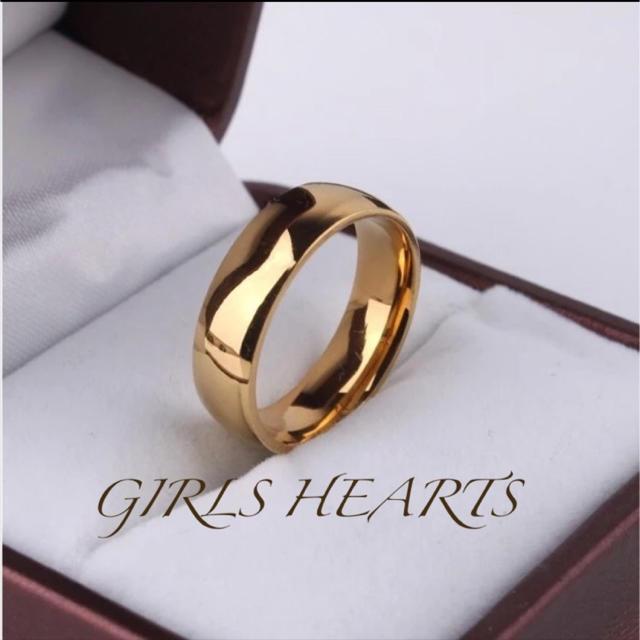 送料無料24号イエローゴールドサージカルステンレスシンプルリング指輪残りわずか メンズのアクセサリー(リング(指輪))の商品写真