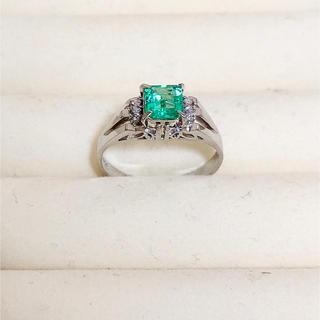 指輪 エメラルド プラチナ台 ダイヤ(リング(指輪))