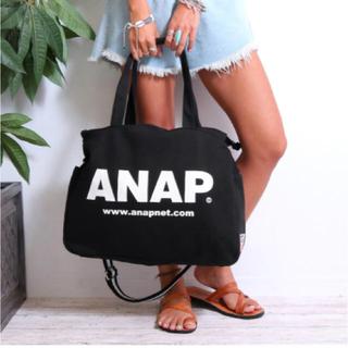 アナップ(ANAP)の新品 ANAP☆ロゴ 2WAY マザーズバッグ 黒 マルチポーチ ピンク(マザーズバッグ)