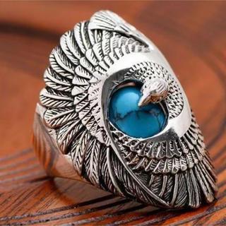 特価高品質!鷲のステンレスリング ブルーターコイズ 10、11号相当(リング(指輪))