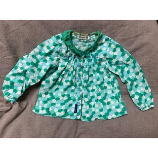 RAG MART - ラグマート 女の子 シャツ 前開き グリーン ドット 95