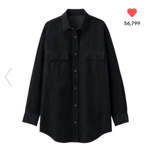 GU(ジーユー)のGU コーデュロイオーバーサイズシャツ ネイビー M レディースのトップス(シャツ/ブラウス(半袖/袖なし))の商品写真