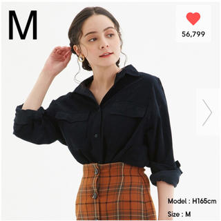 GU コーデュロイオーバーサイズシャツ ネイビー M