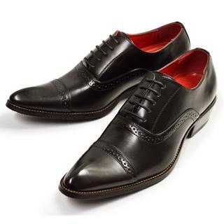 【新品】ビジネスシューズ メンズ 革靴 ストレートチップ 黒 24.5~28cm(ドレス/ビジネス)