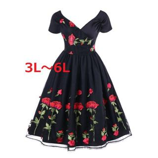 新品大きいサイズ3L5L6Lゴシック豪華薔薇刺繍レースドレスワンピース黒(ロングドレス)