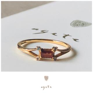 agete - agete♡スクエアカットリング♡ガーネット♡ラブラドライト♡限定♡アガット