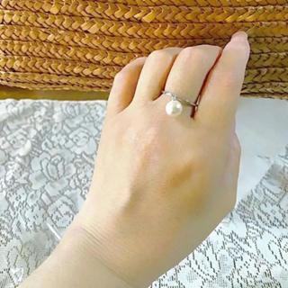ドロップ調パール プラチナカラー 超シンプル 極細 リング(リング(指輪))