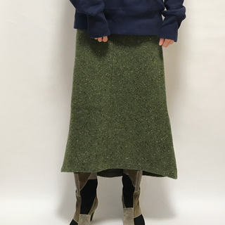 ドリスヴァンノッテン(DRIES VAN NOTEN)のVintage DKNY ダナキャラン スカート ツイード グリーン 4(ロングスカート)