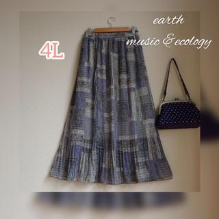 アースミュージックアンドエコロジー(earth music & ecology)の新品タグ付★earthアース 4L ペイズリー 大きいサイズ プリーツスカート(ロングスカート)
