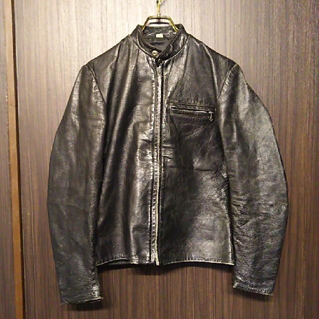 Lewis Leathers(ルイスレザー)のビンテージ シングル ライダースジャケット レザー 60s 70s レア ルイス メンズのジャケット/アウター(ライダースジャケット)の商品写真
