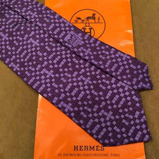Hermes - 正規品 HERMES パープル色 ネクタイ