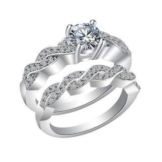 14金ホワイトゴールドフィルド 2連 ダイヤモンドCz リング 16号(リング(指輪))