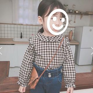 ❣️新品*韓国子供服/ブラウス/ギンガムチェック/長袖/女の子/100cm