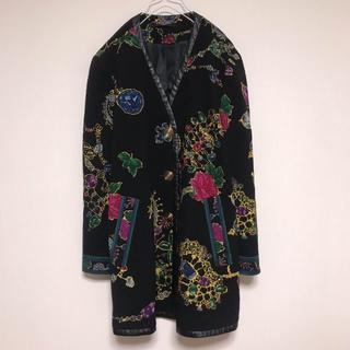 LEONARD - 古着 LEONARD ノーカラー ジャケット 花柄 ウール 黒 ブラック 日本製