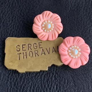 60's仏!ルーサイト!ベビーピンクの花イヤリング