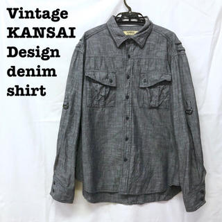 美品【 vintage KANSAI 】 デザインシャツ デニムシャツ オーバー(シャツ)
