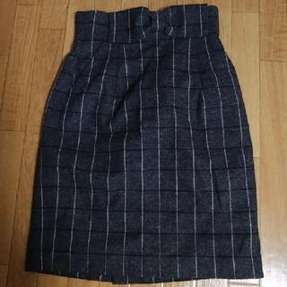 トランテアンソンドゥモード(31 Sons de mode)のリボンつき♪グレー チェック柄 スカート(ひざ丈スカート)