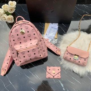 MCM - エムシ-エム 大人気 ピンク リュック バッグパック ショルダーバッグ 財布