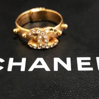 シャネル(CHANEL)の【送料無料】正規品 シャネル  ゴールド ストーン  リング 刻印あり(リング(指輪))