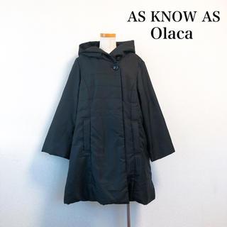 アズノゥアズオオラカ(AS KNOW AS olaca)のAS KNOW AS Olaca フード付き アウター 黒 大きいサイズ(ロングコート)