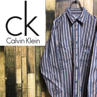 Calvin Klein - 【激レア】カルバンクラインジーンズ☆ロゴタグ入りヒッコリーデニムシャツ 90s