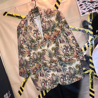 ゴブラン織 花柄 総柄 フラワーパターン ビッグ テーラード ジャケット 古着(テーラードジャケット)