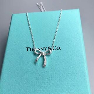 Tiffany & Co. - ティファニー)Tiffany ボウ リボン ダイヤ ネックレス pt950