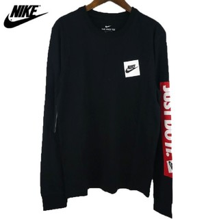 ナイキ(NIKE)のナイキ NIKE 今季新作ロゴプリントロングスリーブT✨ブラック黒2XL ロンT(Tシャツ/カットソー(七分/長袖))