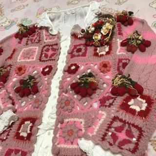 PINK HOUSE - ピンクハウス💖苺🍓モチーフいっぱい💕毛・モヘア混かわいい甘々カーディガン