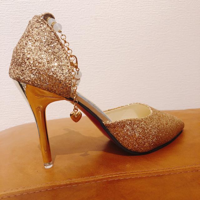 ラメピンヒールパンプス レディースの靴/シューズ(ハイヒール/パンプス)の商品写真