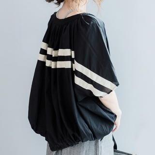 バックライン ボーダー ドルマンシャツ シャツ 半袖 ブラック(シャツ/ブラウス(長袖/七分))