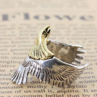 シルバー 925 イーグル フェザー リング メンズ 人気 鷲 羽根 指輪(リング(指輪))