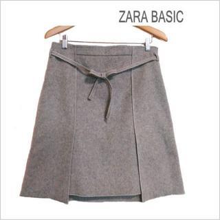 ザラ(ZARA)のZARA BASIC◆グレーウール混切替えスカート◆大きいサイズ◆USA  L(ひざ丈スカート)